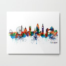 London Watercolor Skyline Silhouette Metal Print