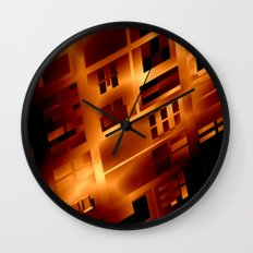 Abstract 379 Orange Geometric Windows Wall Clock