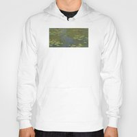 monet Hoodies featuring Claude Monet - Water Lily Pond 1919 by Elegant Chaos Gallery