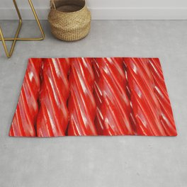 Red Licorice Candy Photo Stripes Rug