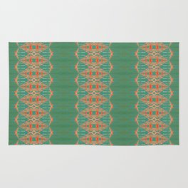 LOU - Pearl and Maude | Turquoise Blue Green Coral Peach Ornate Stripe Rug