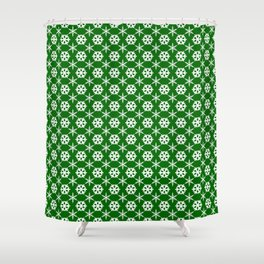 Snowflake Polka Dot Pattern on Green Shower Curtain