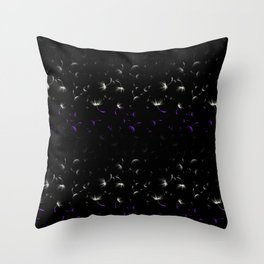 Dandelion Seeds Asexual Pride (black background) Throw Pillow