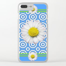 Baby Blue Modern Deco Style Shasta Daisies Art Clear iPhone Case
