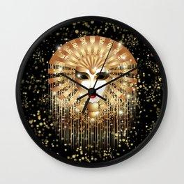 Golden Venice Carnival Mask  Wall Clock