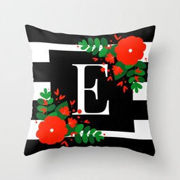E - Monogram Black and White with Red Flowers Throw Pillow