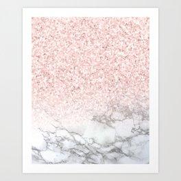 Pretty Rosegold Marble Sparkle Art Print