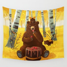 Chocolate cake and the bears Wall Tapestry