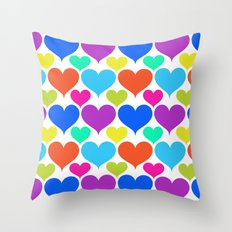 Bright hearts Throw Pillow