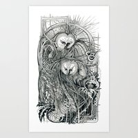 owls Art Prints featuring Owls by Irina Vinnik