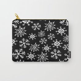 Snowflakes Pattern (Black) Carry-All Pouch