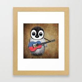 Baby Penguin Playing Haitian Flag Acoustic Guitar Framed Art Print