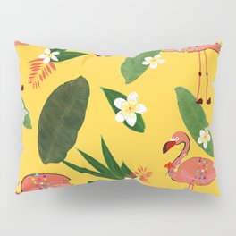 Banana Leaves and Frangipani Tropical Flowers With Flamingos Pattern Pillow Sham