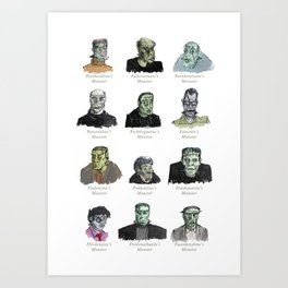 Field Guide to Man-Made Monsters (white) Art Print