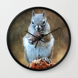 Squirrel with a Pine Cone Wall Clock
