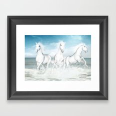 White Horses of the Camargue Framed Art Print
