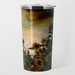 sunflowers and clouds -2- Travel Mug