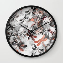 Dragonfly Lullaby in Marble and Rose Gold Wall Clock