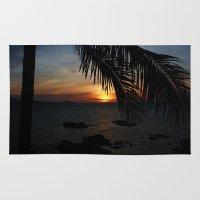 buddah Area & Throw Rugs featuring Sunset from the Big Buddah Café by Ciaran Mcg