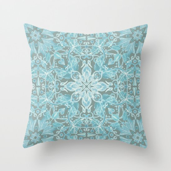 Soft Teal Blue & Grey hand drawn floral pattern Throw Pillow by Micklyn Society6
