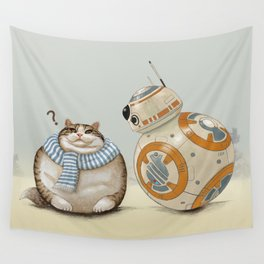 CAT AND DROID Wall Tapestry
