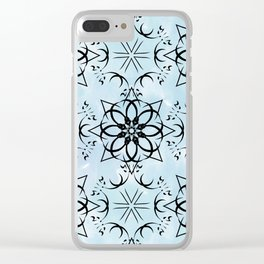 Black fishnet pattern on blue sky background. Clear iPhone Case