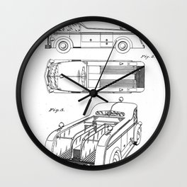 Fire Truck Patent - Fireman Art - Black And White Wall Clock