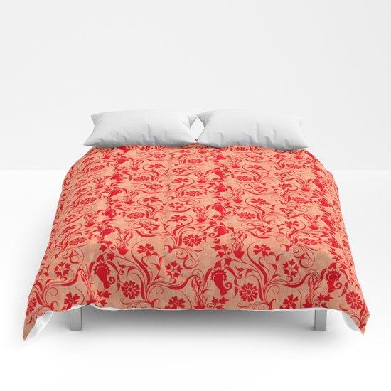 motif red flower 5 Comforters