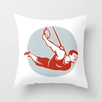 crossfit Throw Pillows featuring Crossfit  Athlete muscle-up Ring Retro by patrimonio