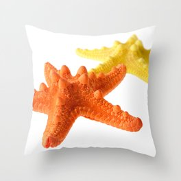 Two starfish, orange and yellow, isolated on white background Throw Pillow