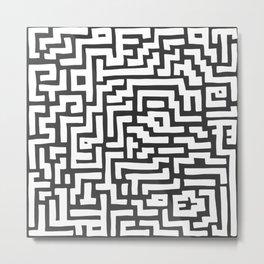 White and Dark Grey Maze Pattern Metal Print