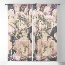 Bold Floral Gold Sheer Curtain