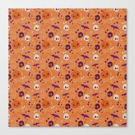 Purple Orange Halloween Pattern Canvas Print