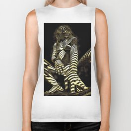 2669s-AK Crouching Nude Woman Technology by Chris Maher Biker Tank