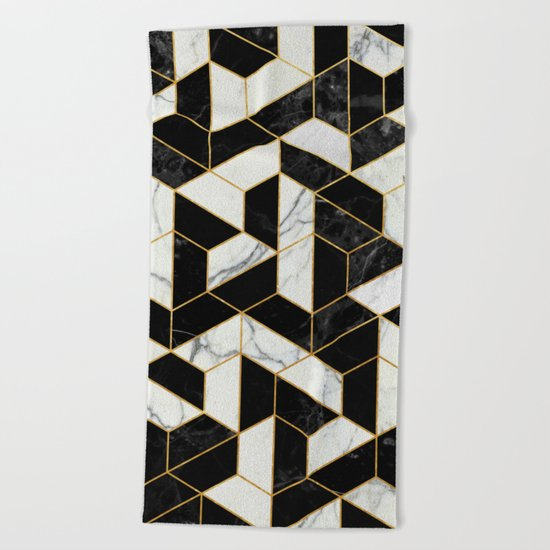 Black and White Marble Hexagonal Pattern Beach Towel