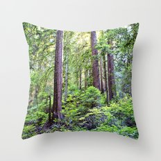 The Light Through the Woods Throw Pillow