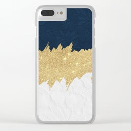 Navy blue white lace gold glitter brushstrokes Clear iPhone Case