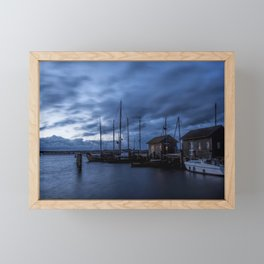 Blue hour at harbour Framed Mini Art Print