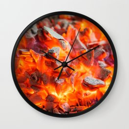 Red Burning Live Coals Campfire Wall Clock