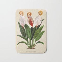 Anthurium scherzerianum old plate Bath Mat