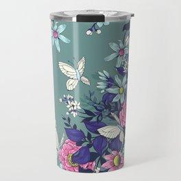 Thea's Garden - in teal tones Travel Mug