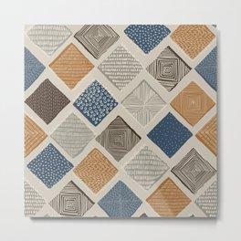Tuscan Tiles Dark Orange and Gray Metal Print