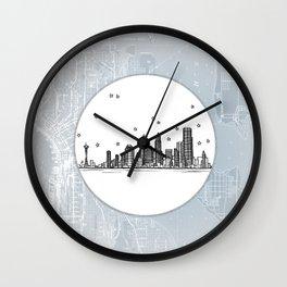 Seattle, Washington City Skyline Illustration Drawing Wall Clock