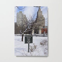 Washington Square Park in the snow Metal Print