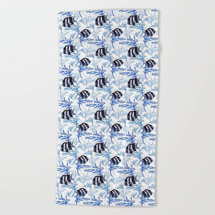 Damselfish in Blue Coral Beach Towel