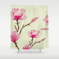 craftberrybush Shower Curtains featuring Pink Magnolia  by craftberrybush