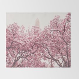 New York City - Central Park - Cherry Blossoms Throw Blanket