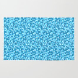 Chinese Spirals | Abstract Waves | Turquoise and White Rug