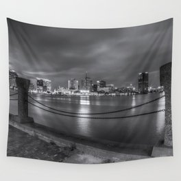 Norfolk Skyline II in Black and White Wall Tapestry