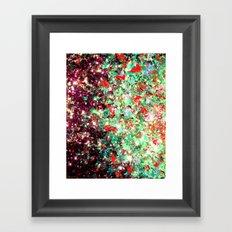 MISTLETOE NEBULA Colorful Festive Christmas Red Green Sparkle Galaxy Ombre Xmas Holidaze Abstract  Framed Art Print